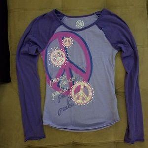 SO Girls-M 10/12 Purple/Pink/Silver Peace shirt